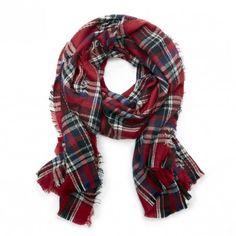 Festive red plaid blanket scarf
