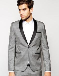 Vito Black Pow Check Suit With Contrast Lapel In Slim Fit