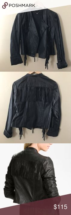 """Ella Moss Fringe 100% Leather Jacket Ella Moss Fringe Leather Jacket • 100% Leather • Size Medium • New without tags • Name of Jacket """"Stevie Fringe Leather Jacket""""       Revolve clothing , Nordstrom , Shop bop , anthropologie , Urban Outfitters , Nasty Gal , Saks Fifth Avenue , Bloomingdales ( stores that sold the jacket and Ella Moss for views ) Free People Jackets & Coats"""