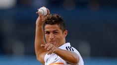 Cristiano Ronaldo made his first pitch! Well I guess, baseball's not for him.  That's why he's a Football player.