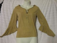 Womens Tan faux Suede Lace up  flutter sleeve top with blue beads Size Small #Monteau #Laceup #Casual
