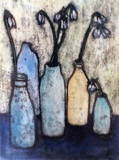New Artist Vicky Oldfield: Snowdrops in Bottles - Mixed Media
