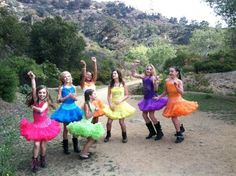 Cast in LA, Maddie pink,Paige blue,Kenzie green,nia and Kendall orange,Brooke yellow,and Chloe purple