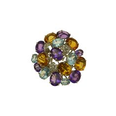 Gold K18 White Diamonds Natural Stones White Diamonds, Natural Stones, Brooch, Stud Earrings, Gold, Jewelry, Jewlery, Jewerly, Brooches