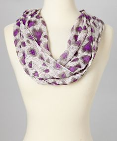 Take a look at this Purple & White Peacock Infinity Scarf on zulily today!