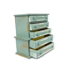 VINTAGE JEWELRY BOX Blue Distressed Wood Jewelry Holder Jewelry