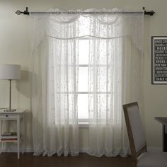 Finery White Embroidery Sheer With Valance Curtain Set  #sheer #sheercurtain #custommade #curtains #homedecor