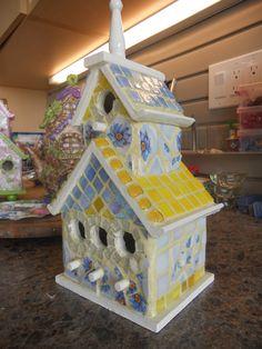 Mosaic artist: Christine Becker  Blue & Yellow Bird-House Yellow Grout