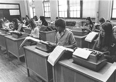 Typing class, 1970s. We learned how to type all styles of letters and had speed tests with time deducted for errors.