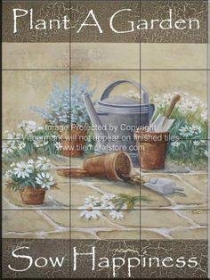 Kitchen ceramic tile - Garden art on tile - Sow Happiness-RB - Tile Mural Garden Tiles, Garden Art, Tile Murals, Tile Art, Kitchen Splashback Tiles, Shower Surround, Tile Projects, Flower Pots, Flowers