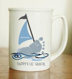Boat Mug. Super cute for the sailor's in your life. Handprint and footprint art for baby and kids. Send us your prints and we do the rest! Great gifts for moms and dads, grandparents, holidays and special occasions!