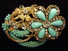 Vintage Signed MIRIAM HASKELL Turquoise Bead & Rhinestone Flower Brooch Pin..   via pinterest