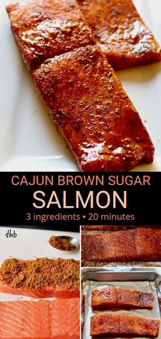 salmon recipes Cajun Brown Sugar Salmon, sweet and spicy glazed salmon with just three ingredients and ready in 20 minutes, an easy and healthy weeknight dinner. Baked Salmon Recipes, Fish Recipes, Seafood Recipes, Baking Recipes, Seafood Meals, Cajun Recipes, Healthy Recipes, Recipes Dinner, Chicken Recipes