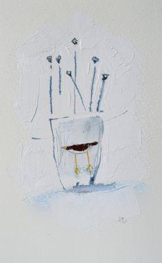 ARTWORK .. original MIXED MEDIA  painting/ink Vase of by hensteeth
