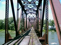 Grand Rapids, OH (Wood Co.) - Looking across the abandoned railroad bridge next to Rt. 65.