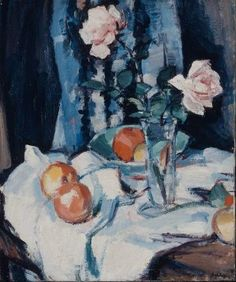 "Samuel John Peploe's ""Still Life with Roses in a Glass Vase."" Museum of Fine Arts, Boston."