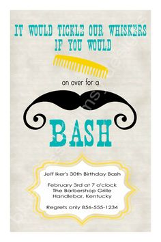 Comb on Over for a Mustache Bash- Birthday Invitation