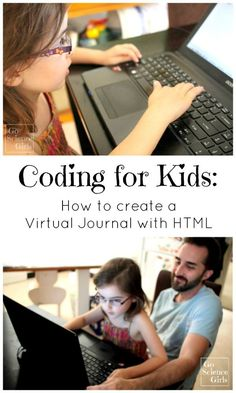 Coding for kids - how to create a virtual journal and introducing (easy) html tags. Open-ended computer science fun for 5 year olds and up. Activities For 5 Year Olds, Science Activities For Kids, Stem Science, Stem Activities, Learning Activities, Science Ideas, Programming For Kids, Computer Programming, Computer Science