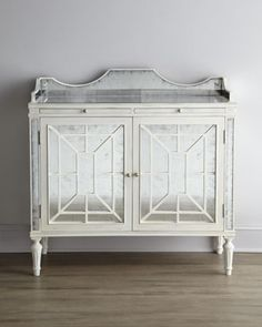 """A little glamour- plus mirror to give some illusory size to my tiny living room. """"Rochelle"""" Console by Florence de Dampierre at Horchow. Furnishings, Horchow, Tiny Living Rooms, Sideboard Console, Furniture Styles, Furniture Accessories, Shabby Chic Cottage, Trellis Design, Home Furnishings"""