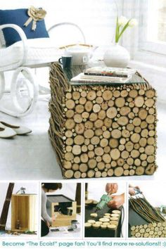 How to re-use wood in your home - DIY - living room - couch - table - bring nature into your home