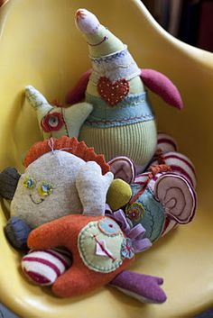 Recycled sweaters --> plush creatures
