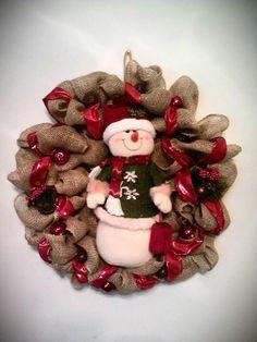Snowman burlap wreath Holiday Wreaths, Holiday Decor, Burlap Wreath, Snowman, Christmas Ideas, How To Make, Home Decor, Cakes, Wreaths