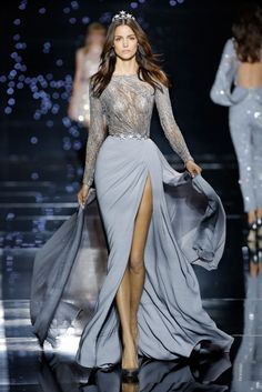 Zuhair Murad Haute Couture FW 2016 - Long dress with slit and silver embroidered bust with grey crepe tulle skirt