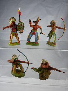 5x Hausser Elastolin Wild West Indianer aus Masse - 1950er Jahre - 7cm serie | eBay Retro Toys, Vintage Toys, Britains Toys, Toy Soldiers, Antique Toys, Old Toys, All Brands, Wild West, My Childhood