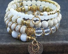 White Dreams II - Gold-Plated Memory Wire Bracelet and Matching Earrings. what a pretty bracelet and such great inspiration! Memory Wire Jewelry, Memory Wire Bracelets, Handmade Bracelets, Artisan Jewelry, Handcrafted Jewelry, Beaded Jewelry, Beaded Bracelets, Wrap Bracelets, Necklaces