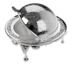 Butter Dish with Revolving Lid Silver Plated British Made with tarnish resistant finish that never needs polishing: Amazon.co.uk: Kitchen & Home