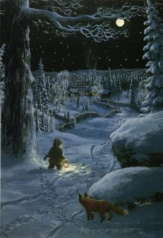 Swedish Gnome and Fox Winter Scene