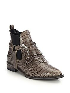FREDA SALVADOR Snake-Embossed Leather Fringed Harness Ankle Boots