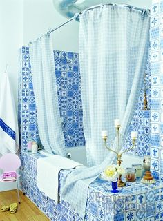 blue and white tile | Residential Design: Bathrooms