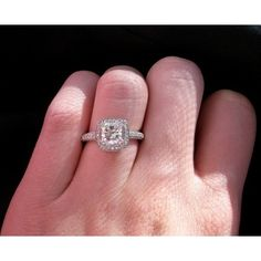 Cushion cut pave engagement ring - Diamond Jewelry Forums found on Polyvore