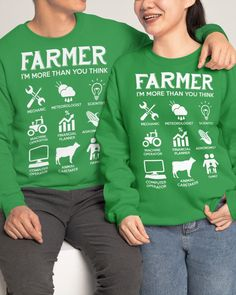 Farmer More Than You Think Funny s - Irish Green farmer market, farmer style, farmer wife #farm #outdoors #food, dried orange slices, yule decorations, scandinavian christmas Farmer Quotes, Crew Neck Sweatshirt, Graphic Sweatshirt, Dried Orange Slices, Sheep Farm, Yule Decorations, Scandinavian Christmas, Thinking Of You, Farmers