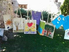 Art therapy exercise for groups: Draw and paint  your emotions on bag