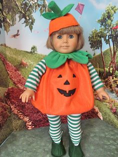 Halloween Costume,  Pumpkin Costume, 18 Inch Doll Clothes, Doll Costume