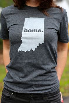While I don't always love certain things about IN, after moving I have found it is home and I want this shirt. Indiana Home TShirt by TheHomeT on Etsy, $20.00