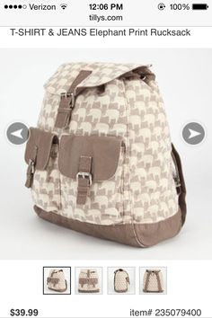 Elephant canvas backpack from Tillys.com