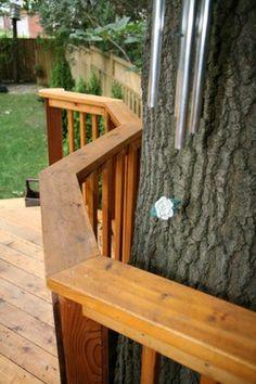 "Reverse ""s"" cedar railing, ""Runnemede"", Toronto, by  Normoe, the Backyard Guy. Pressure treated fence."