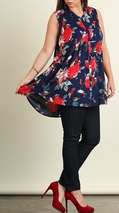 Floral Button Up Tunic - Navy – Rose Gold Vintage