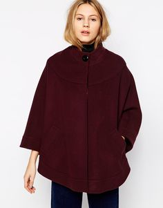Helene+Berman+Collarless+Cape+with+Concealed+Button+Front
