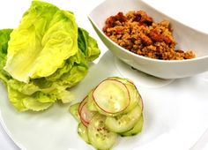 Ingredients Yield: 6 to 8 wraps Spicy Pork Filling 1 teaspoon sesame oil 1 pound ground pork 1 shallot, diced ¼ cup red bell pepper, diced ¼ cup water chestnuts, diced 1 garlic clove, minced 1 tablespoon of Cucumber Uses, Pork Lettuce Wraps, Sweet And Spicy Sauce, Quick Pickled Cucumbers, English Cucumber, Chef Recipes, Sugar And Spice, Fresh Rolls, Stuffed Peppers