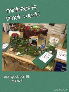 Minibeast small world area this week Child Care Services, Outdoor Nursery, Early Years Classroom, Role Play Areas, Continuous Provision, Small World Play, Play Based Learning, Classroom Environment, Preschool Science