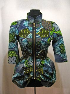African Wax Print Jacket w/ Spikes by buythedress on Etsy