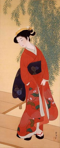 KIKUCHI Keigetsu (1879~1955), Japan. KIKUCHI Keigetsu(1879-1955) is known as a Japanese-style painter whose figure painting expresses at the same time gracefulness and assuredness.