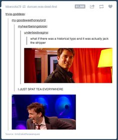 """""""It's not that funny but the guy's face in the bottom picture just kills me haha"""" ^^^^^^THAT GUY? That's David Tennant, the doctor. And Captain Jack Harkness. If you haven't seen Doctor Who then you wouldn't understand Dr Who, Chris Evans, Fandoms, Space Man, We Are Bears, Nos4a2, Captain Jack Harkness, Never Be Alone, John Barrowman"""
