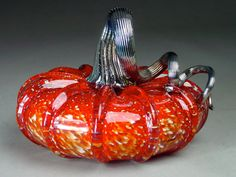 Hand Blown Glass Pumpkin  Cherry Jewel Tone