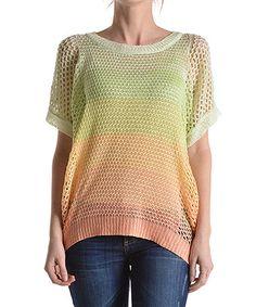 Another great find on #zulily! Peach & Green Stripe Knit Top by MAK #zulilyfinds
