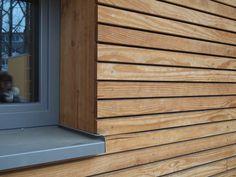 18 New Ideas exterior cladding facades wood siding Rainscreen Cladding, Larch Cladding, Exterior Wall Cladding, House Cladding, Wood Facade, Wood Siding, Wood Paneling, Wooden Wall Cladding, Cladding Panels